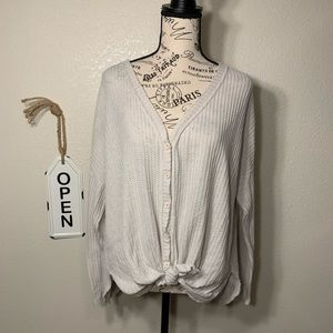 Double zero oversized button thermal long sleeve